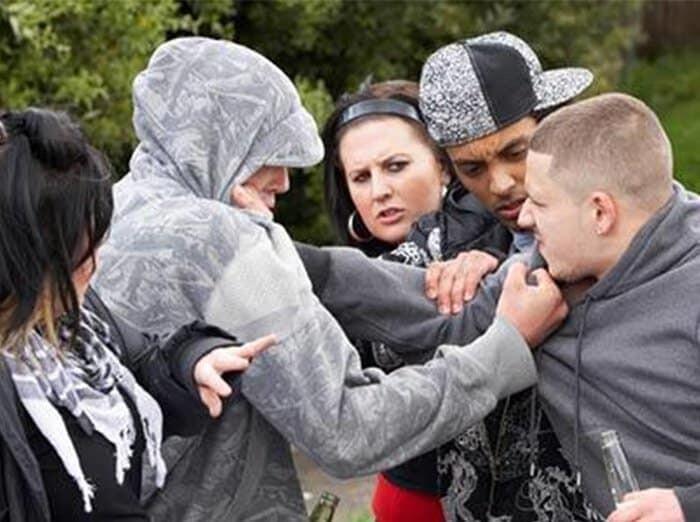 teenagers gangs fighting punch violence